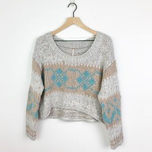 Free People Blue Cropped Fairisle Pullover sweater